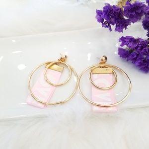 Pink LOVE ribbon earrings